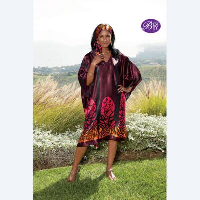 Shorter Length V-Neck Caftan with Matching Headwrap by Especially Yours