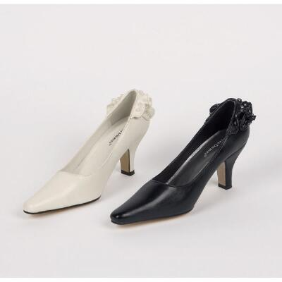 Ruffled Heel Pumps by Olem Shoes