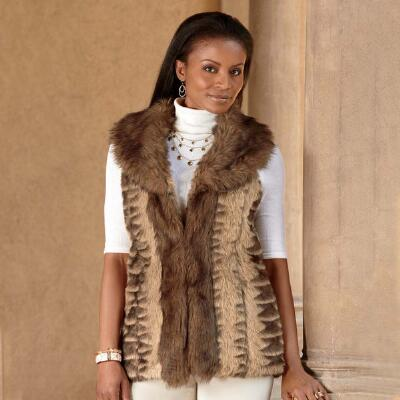 Brown Faux-Fur Vest from ML Studio by Milano