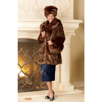Think Mink Coat, Hat and Handbag Set by Lisa Rene