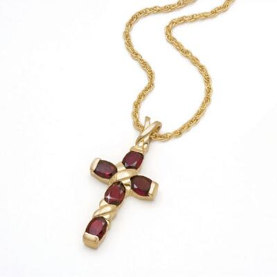 Garnet Cross on Chain