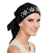Floral Rhinestone Turban with Ties