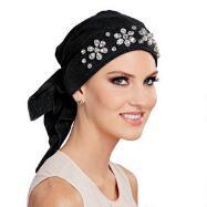 Floral Rhinestone Turban with Ties