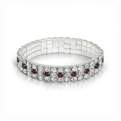 Genuine Garnet & Crystal Stretch Bracelet
