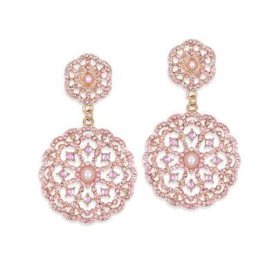 Pink Faux Pearl Drop Earrings