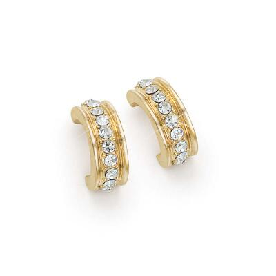 Gold Tone Hoop Earrings with Crystals
