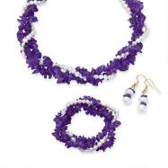 Genuine Amethyst and Fresh Water Pearl Necklace, Bracelet and Earrings Set