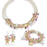 Genuine Fresh Water Pearl Nautical Necklace, Bracelet and Earrings Set