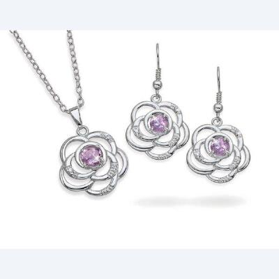 Amethyst Flower Pendant & Earrings Set