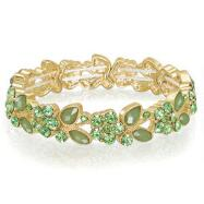 Green Goldtone Stretch Bracelet