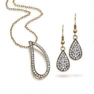Antique Goldtone Pendant & Earrings Set
