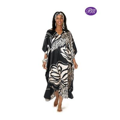 Longer Length V-Neck Caftan w/Matching Headwrap