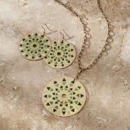 Disc Earrings and Necklace Set