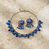 Azure Dreams Beaded Necklace and Earrings Set