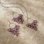 Pink/Purple Beaded Necklace and Earrings Set