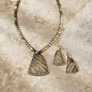 Textured Necklace and Earrings Set