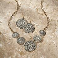 Floral Disc Necklace and Earrings Set