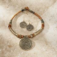 Circles Pendant Necklace and Earrings Set