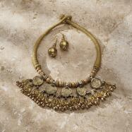 Disk and Bead Necklace and Earrings Set