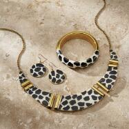 Animal-Print Necklace, Bracelet and Earrings Set