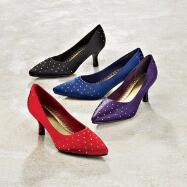 Jeweled Satin Pumps by Nicola