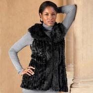 Black Faux-Fur Vest from ML Studio by Milano
