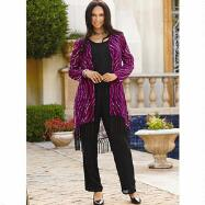Fringed Print Duster Jacket 3-Pc. Set by EY Boutique