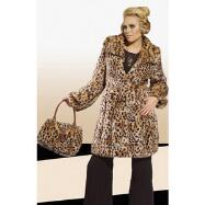 Cheetah Fur Coat with Handbag and Earmuffs by Donna Vinci