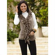 Furry-Trim Sweater Vest by Sioni