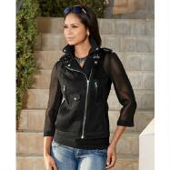 Mesh Moto Jacket by Luxe Moda by Donna Vinci