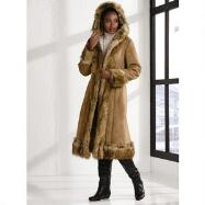 Faux-Shearling Long Coat by Luxe EY