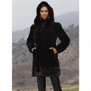 Hooded Faux-Fur 3/4 Coat by Luxe EY