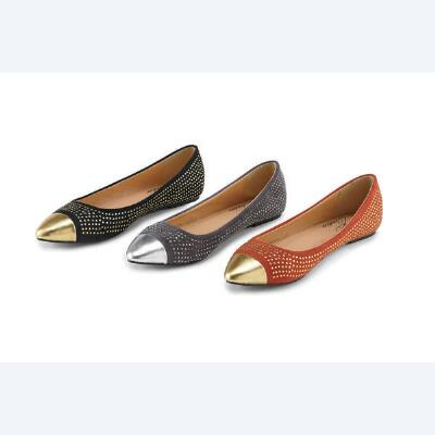 Metallic-trim Flats by EY Couture