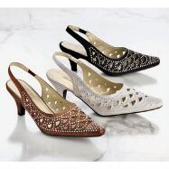 Rhinestone Cutout Slingbacks by John Fashion™