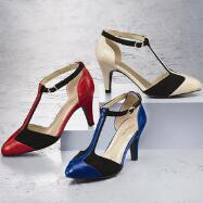 Colorblock T-Strap Pumps by EY Boutique