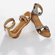 Mixed-Media Gladiator Sandals by Amanda