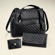 Quilted Handbag, Wallet and Coin Purse Set by Studio EY