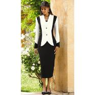 Curvy Contrast Skirt Suit by EY Signature