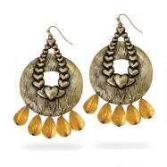 Goldtone Hearts with Amber Beads Earrings