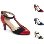 Color Closeout Colorblock T-Strap Pumps by EY Boutique