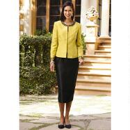 Jet Set Collarless Jacket & Skirt Suit by Verucci by Chancelle