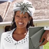 Crystal Rows Hat & Handbag Set by BMJ