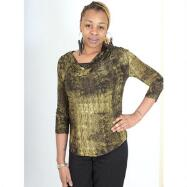 Cowl Neck Top with Shirring 3/4 Sleeve by Isabella Rodriguez