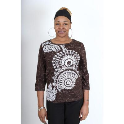 ¾ Sleeve Scoop Neck Top with Beading by Take Two Clothing