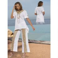 Linen and Lace Pant Set by DONNA by Donna Vinci