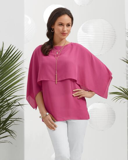 Flowing Overlay Cape Top