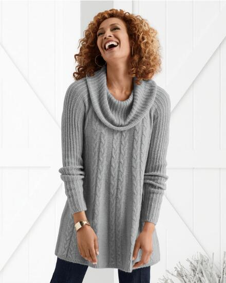 Cowl & Cable Sweater Tunic