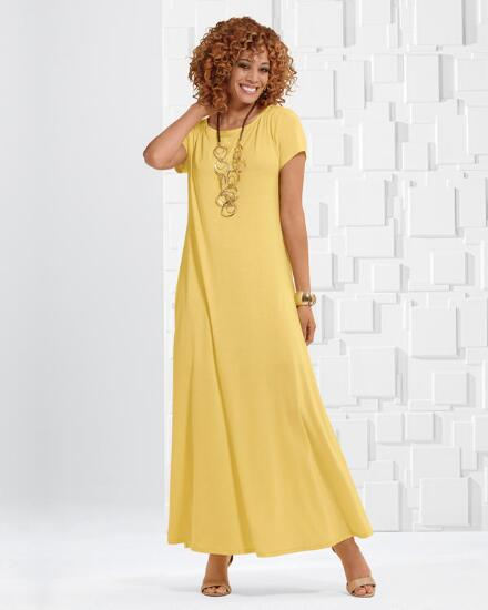 Short-Sleeve Knockout Knit Maxi Dress