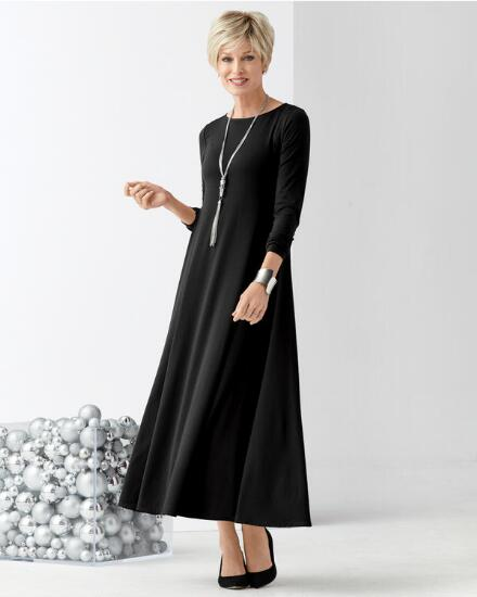 Long-Sleeve Knockout Knit Maxi Dress - Petite