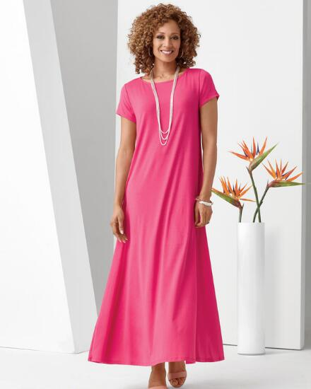 Color Closeout Short-Sleeve Knockout Knit Maxi Dress